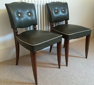 Pair of French 40's bridge chairs. Very elegant side chairs.