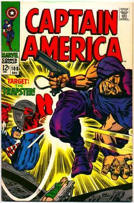 Captain America 108 Stan Lee Jack Kirby Trapster Marvel Silver Age 1968 Nr!!