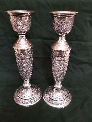 A pair of Antique Persian Silver 84 candlestick holders, 429g
