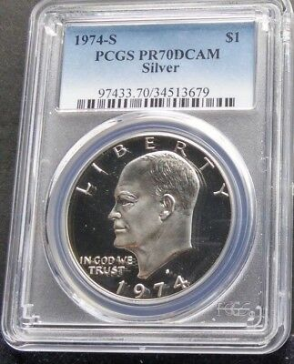 1974 S $1 PCGS PR70DCAM Silver top grade Eisenhower Dollar Coin Low Population