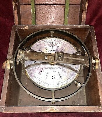 Antique Compass Azimuth Lg Ship Binnacle Navy Maritime Solid Brass Scythes Scyco