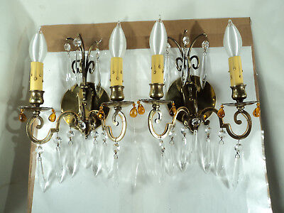 Beautiful Pair Brass Crystal French Style Double Light Sconces