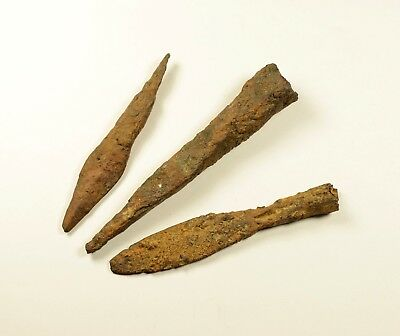 LOT OF 3 - ANCIENT ROMAN BATTLE IRON ARROW ARROWHEAD - Circa 300-400 AD