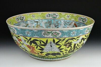 Antique 19th Century Chinese Porcelain Famille Rose / Jaune Punch Bowl