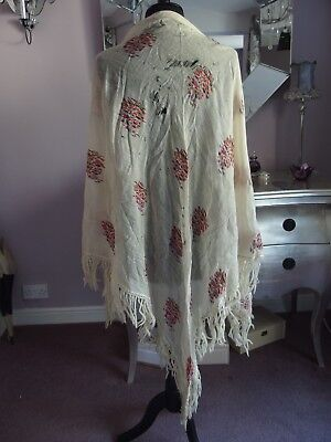 antique Victorian wool shawl textile