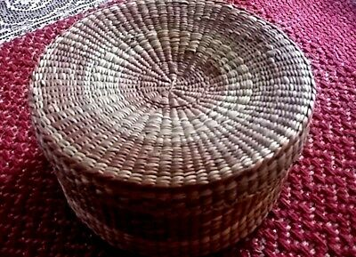 Old Antique Hand Woven Basket tight weave with lid