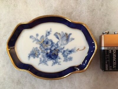 Limoges Miniature Tray/Platter Blue/Gold Flowers  Rehausse' Main  #5339