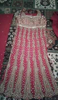 Red Churidhar frock suit Heavy bridal 12/14