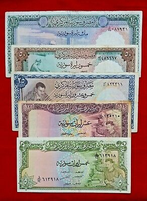 Syria, Set Of 5 Banknotes 5 10 25 50 100 Syrian Pounds 1973+1974 Good Condition