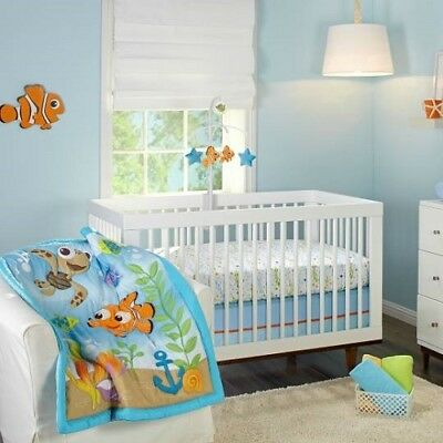 Disney Baby Finding Nemo A Day At The Sea 3-Piece Crib Bedding Set *New*