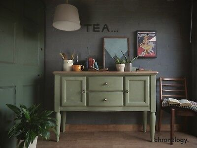 Vintage Chalk Painted Sideboard Cabinet Dresser (Green) Farmhouse Country Style