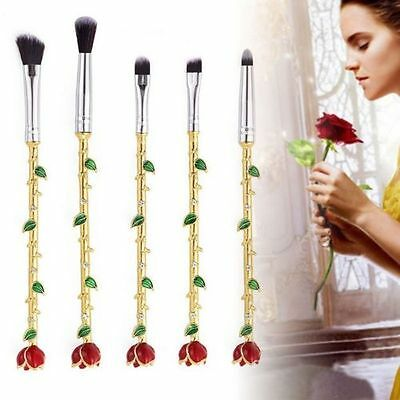Beauty and the Beast Style Roses Silver/Gold Makeup Brushes Set