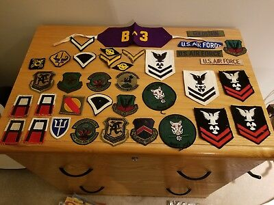 """Vintage Mixed Lot Of 36 Military Patches """"very Nice"""""""