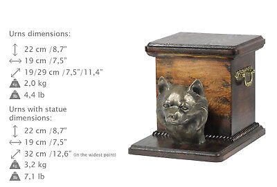 Chihuahua longhaired, dog urn made of cold cast bronze, ArtDog, CA - kind2