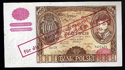GERMAN-OCCUPIED POLAND:  100 ZLOTYCH  (1939) overprint on 1934 note (cb 7477470)