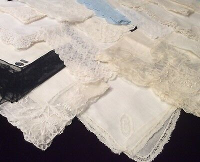 Vintage Lot 20 Wedding White Womens Hankies Lace Tatted Linen Black Lace Blue