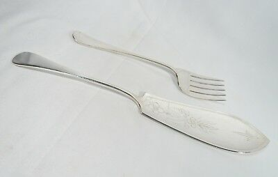 Antique Vintage Silverplate FISH SERVERS Engraved Old English Style FORK & KNIFE