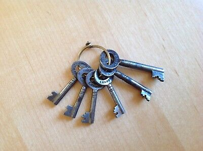 6 X Antique Keys, Made By Famous Locksmith Alfred Hobbs, Hobbs & Co London