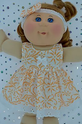 "Play n Wear Doll Clothes For 14""Cabbage Patch WHITE/ORANGE FLOWER DRESS~HEADBAND"