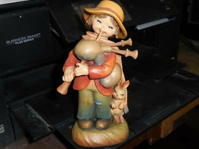 Anri Carved Wood Boy With Rabbit Playing Bag Pipes Ferrandiz