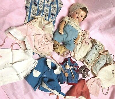 Vintage American Character Tiny Tears Doll W/ Many Cloths Pas Rattle Bubble Pipe