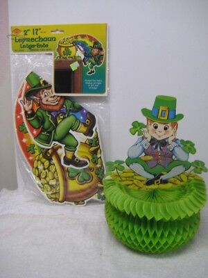 2 Vintage Beistle St Patrick's Day 1975 Leprechaun Honeycomb Pot Of Gold & Rainb