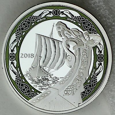 2018 $20 Viking Ships: Northern Fury - 1 oz. 99.99% Pure Silver Color Proof