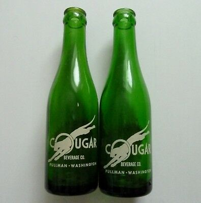 (2) Vintage Cougar Beverage Co. Pullman Washington 7 oz. Soda Bottles WSU