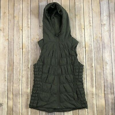 Women's Size Large Be By Blanc Noir Olive Green Hooded Zip Up Vest Cute!
