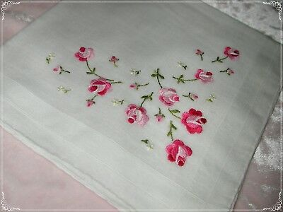 ANTIQUE Swiss Hand Embroidered Handkerchief, Red/ Pinks White Embroidery N0.28