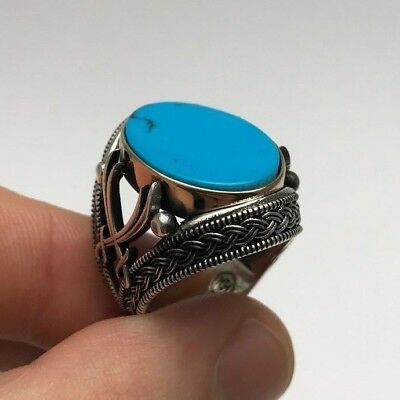 Turkish Islamic Jewelry Zulfiqar Blue Turquoise 925K Sterling Silver Men's Ring