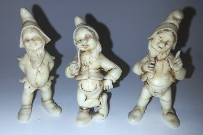 Vintage Lot of 3 Depose Italy Figurines Gnomes Dwarfs