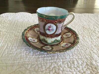 Antique Nippon Cup and Saucer Floral Beaded Gold Burgandy Green