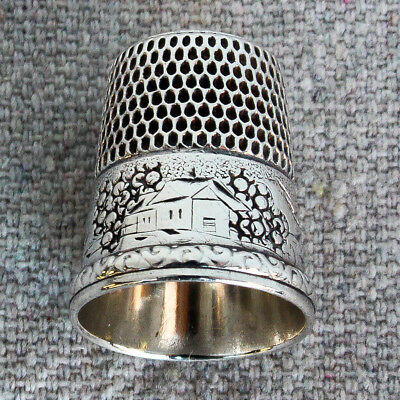 Antique Sterling Silver Simons Brothers Thimble House Cottage Sunrise Sunset 10