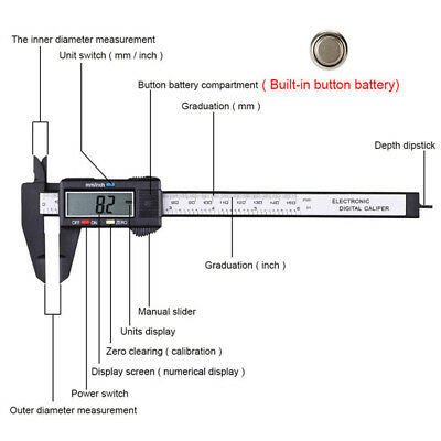 LCD Electronic Gauge Micrometer Measure Tool 150mm 6inch Digital Vernier Caliper