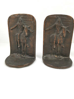 """1920's BRON MET Bookends depicting """"APPEAL TO THE GREAT SPIRIT"""" by Cyrus Dallin"""
