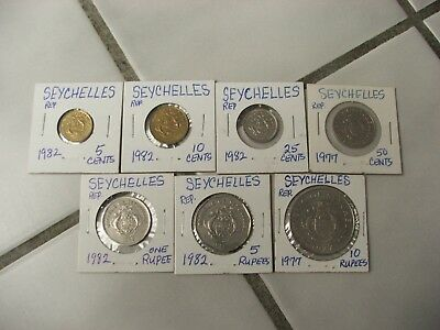 (7) SEYCHELLES coins (5) 1982 (2) 1977 / 5,10,25,50 CENTS / 1,5,10 RUPEES Great!