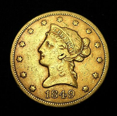 United States, 1849 $10 Gold Coin.  10 Dollar Eagle.