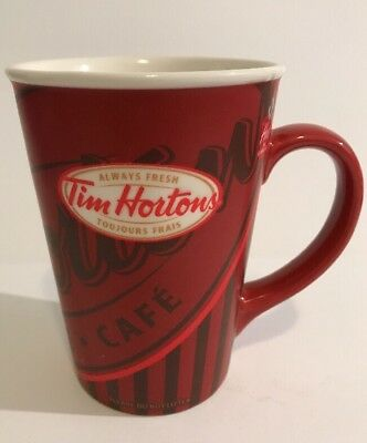 Tim Hortons Limited Edition Red Coffee Mug Cup #008 2008 Red Always Fresh Tims
