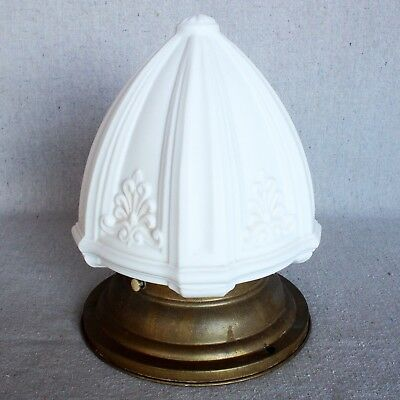 Antique Edwardian Art Deco Milk Glass Pendant Shade Light Fixture Sconce