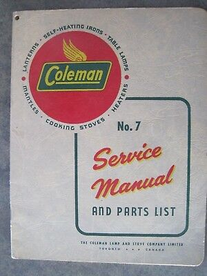 Coleman Gas Lamp, Gas Irons # 7 Service Manual & Parts List