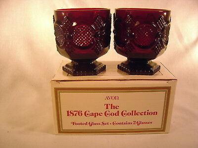Avon Cape Cod 1876 Ruby Red Glass ~ Footed Glass Set ~ NEW ~ Original Box
