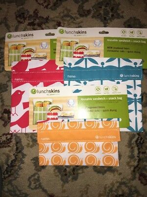 Lunchskins Reusable Sandwich Bags Velcro - Lot Of 3 - (2) Sandwich And (1) Snack
