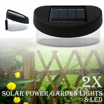 8LED Solar Power Fence Wall Gutter Light Lamp  Garden Pathway Lights 2x Outdoor