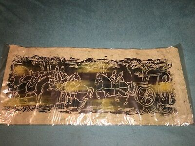 "Vintage Chinese Art Of Batik ""Five Horses"" By Han Palace Art Co"