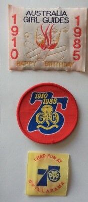 3 Girl Guide Badges 75 years