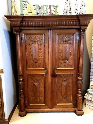 Magnificent Pair of Oak Wardrobes (2)