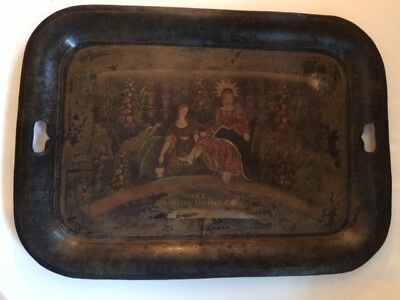 Large Antique Hand Painted Tin Toleware Tole Serving Tray w/Handles Religious