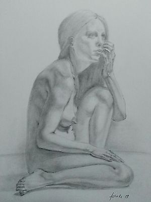 Female Nude Graphite Drawing A4 Pencil Drawing Original Art Realistic