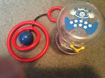Lot of 2 Johnson & Johnson star clown rattle and red rings baby toy